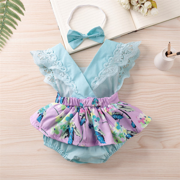 Baby Girls Sleeveless Plant Printed Summer Romper & Headband Cheap Baby Clothes In Bulk