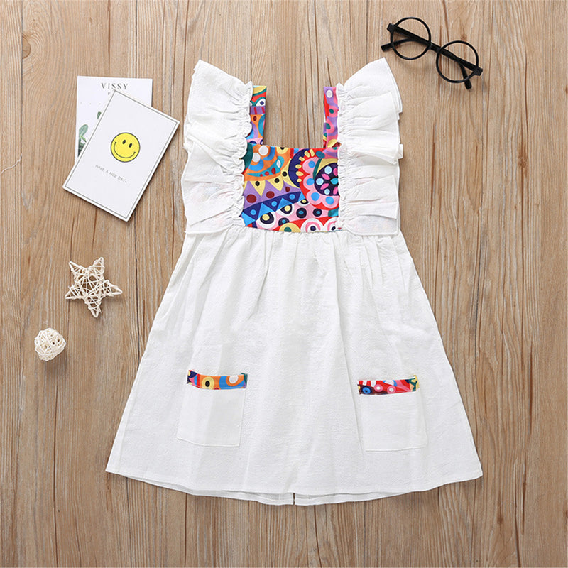 Girls Sleeveless Pocket Printed Dresses kids clothing wholesale