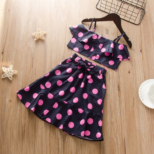 Girls Sleeveless Polka Dot Tank Top & Skirt Girls Clothing Wholesale