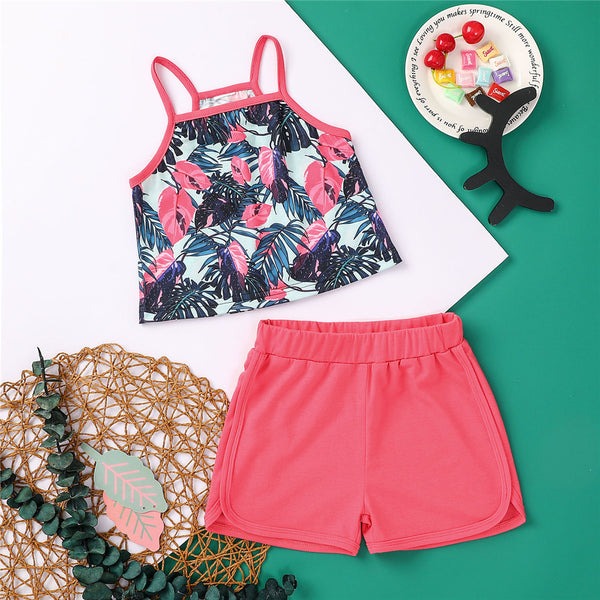 Girls Sleeveless Printed Pattern Sling Top & Shorts trendy kids wholesale clothing