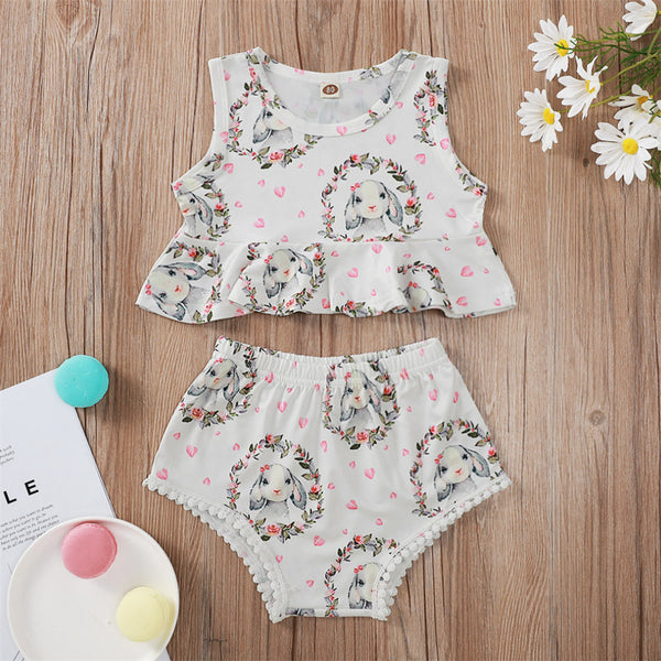 Baby Girls Sleeveless Rabbit Heart Printed Swimming Suit Wholesale Plus Size Swimsuits