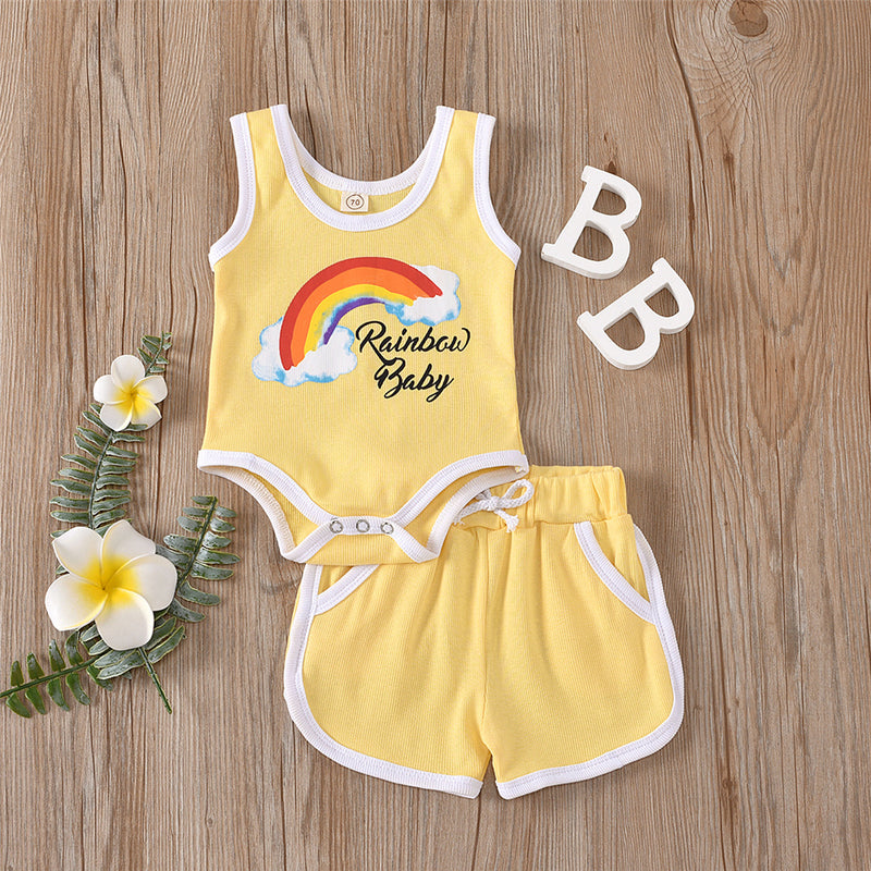 Baby Unisex Sleeveless Rainbow Baby Printed Romper & Shorts Baby Summer Clothes