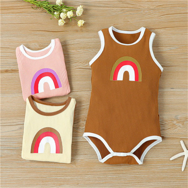 Baby Unisex Sleeveless Rainbow Printed Romper baby clothes wholesale usa