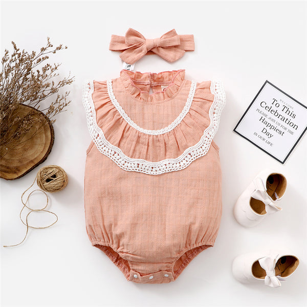Baby Girls Sleeveless Romper & Headband baby clothes wholesale distributors