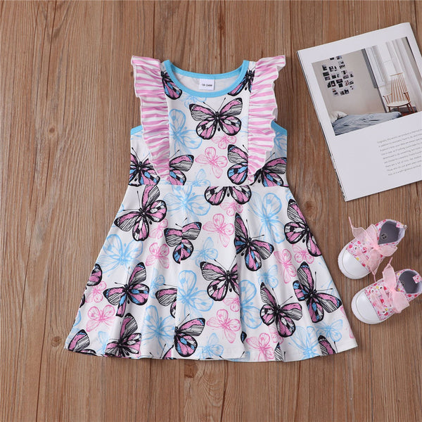 Girls Sleeveless Ruffled Butterfly Printed Dress Girl Dresses Wholesale