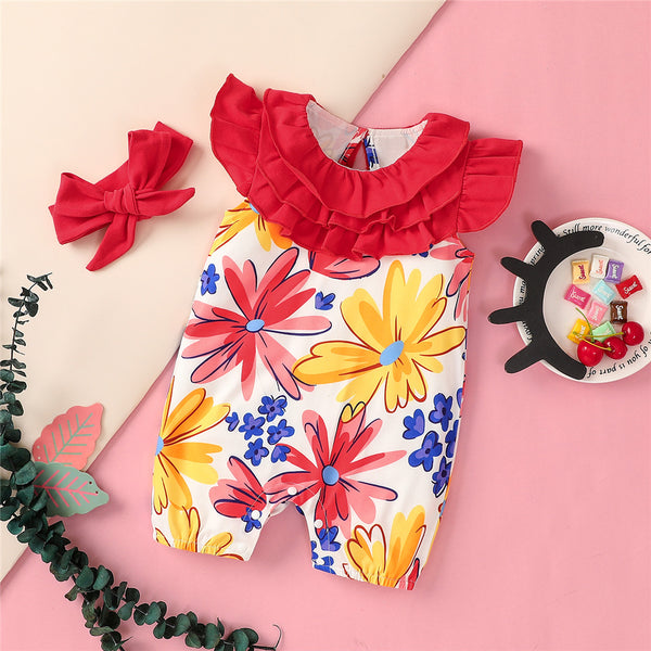 Girls Sleeveless Ruffled Floral Printed Romper & Headband Wholesale Baby Clothes