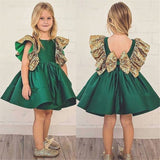 Girls Sleeveless Sequin Bow Decor Dress Baby Clothing Suppliers