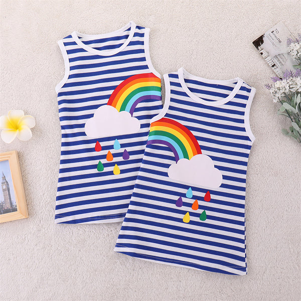 Girls Sleeveless Sisters Sleeveless Striped Rainbow Printed Dresses trendy kids wholesale clothing