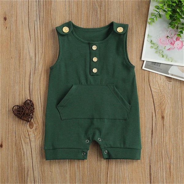 Baby Unisex Sleeveless Solid Casual Romper Baby Clothing Cheap Wholesale