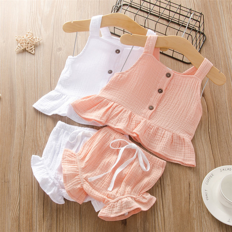 Girls Sleeveless Solid Color Button Cotton Top & Shorts Girls Clothing Wholesale