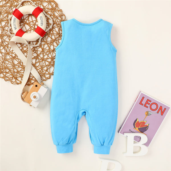 Baby Unisex Sleeveless Solid Color Button Romper Baby Wholesale Suppliers
