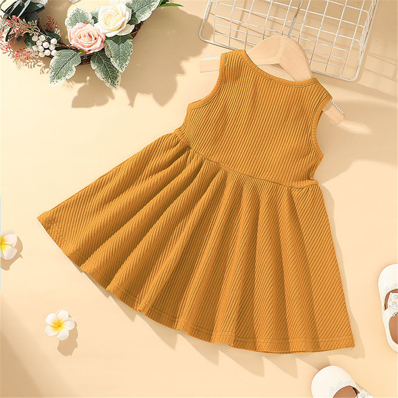 Girls Sleeveless Solid Color Casual Dress childrens wholesale clothing