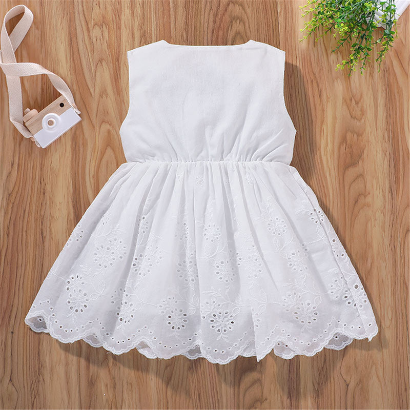 Baby Girls Sleeveless Solid Color Hollow Out Dress Cheap Boutique Baby Clothing