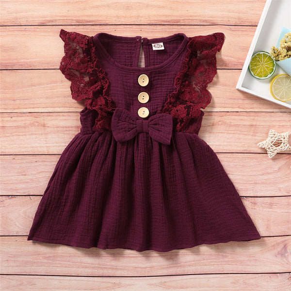 Girls Sleeveless Solid Color Lace Button Bow Decor Dress Girl Wholesale