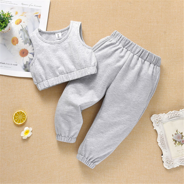Baby Girls Sleeveless Solid Color T-shirts & Pants baby clothes wholesale distributors