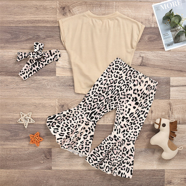 Girls Sleeveless Solid Color Tie Up Top & Leopard Flared Pants Wholesale Little Girls Clothes