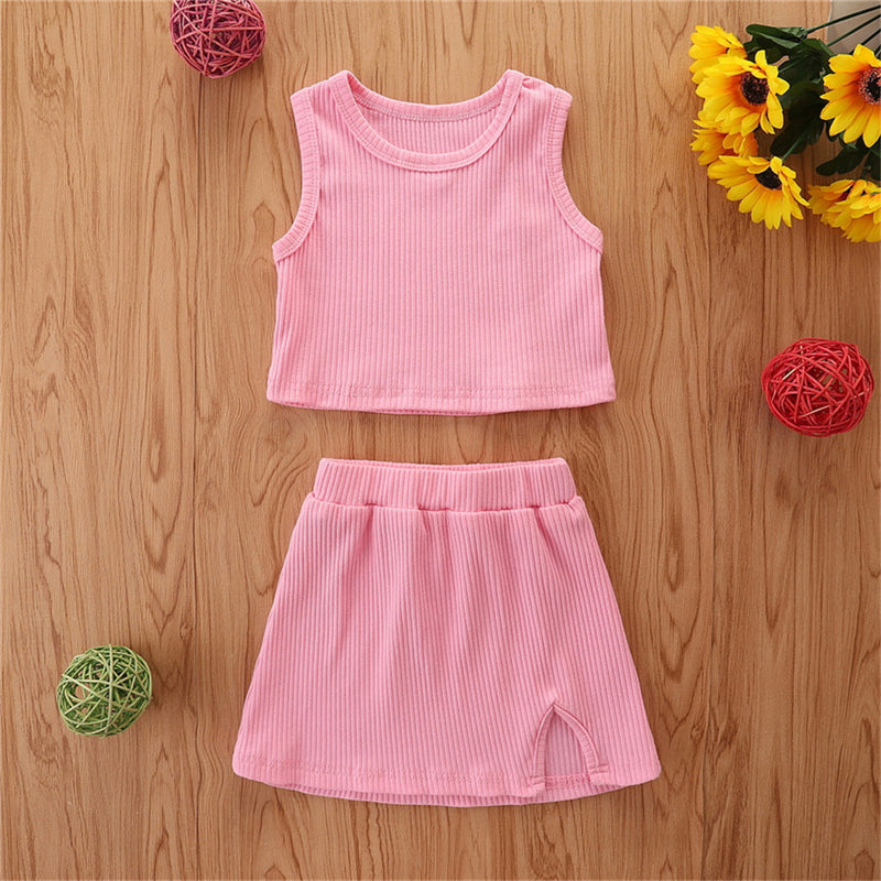 Girls Sleeveless Solid Color Top & Skirt wholesale kids boutique clothing