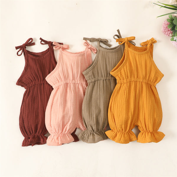 Baby Girls Sleeveless Solid Flared Sling Romper Cheap Baby Clothes Wholesale