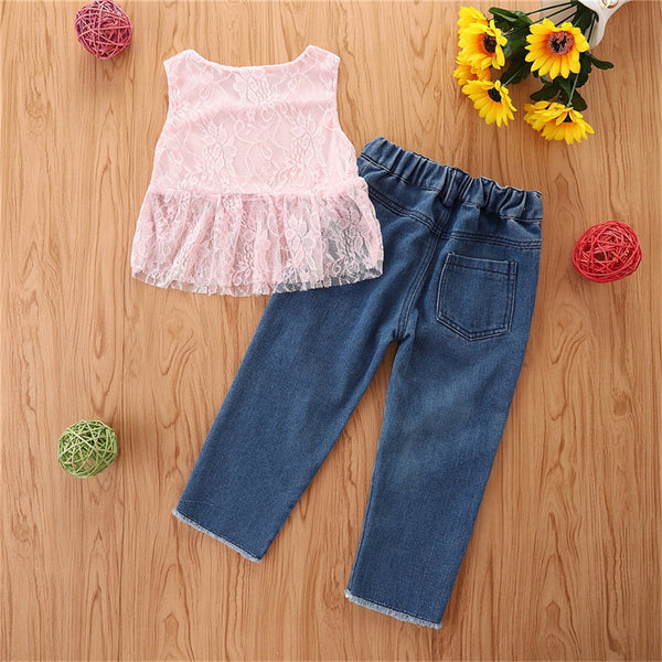 Girls Sleeveless Solid Pink Top & Ripped Jeans kids clothes wholesale