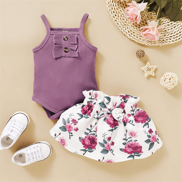 Baby Girls Sleeveless Solid Romper & Bow Decor Floral Skirt Baby Clothes Suppliers