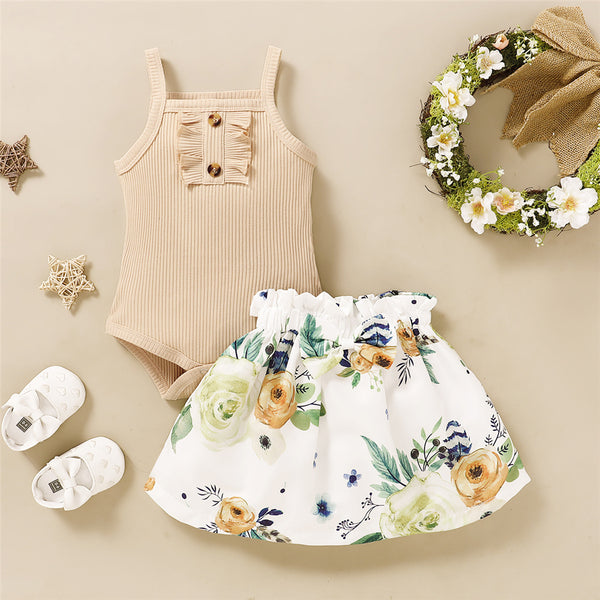 Baby Girls Sleeveless Solid Romper & Plant Printed Skirt Baby Clothing Wholesale