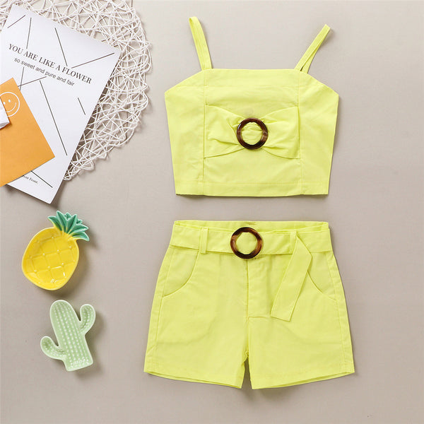 Girls Sleeveless Solid Sling Top & Shorts Suit wholesale kids boutique clothing