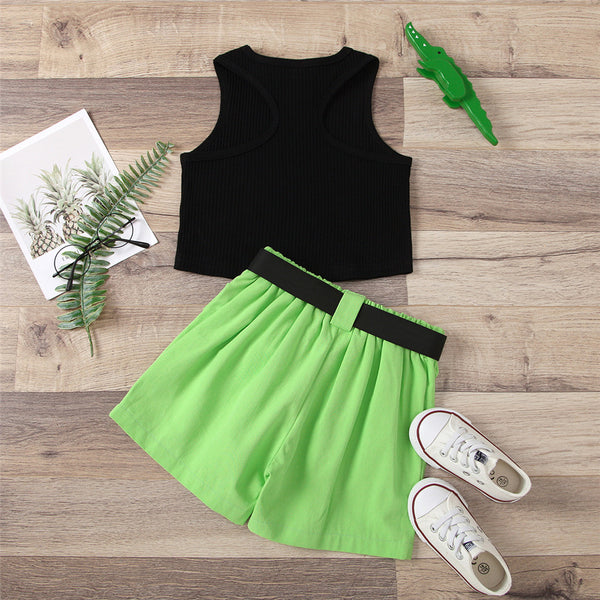 Girls Sleeveless Solid Top & Belt Shorts wholesale children's boutique clothing suppliers usa