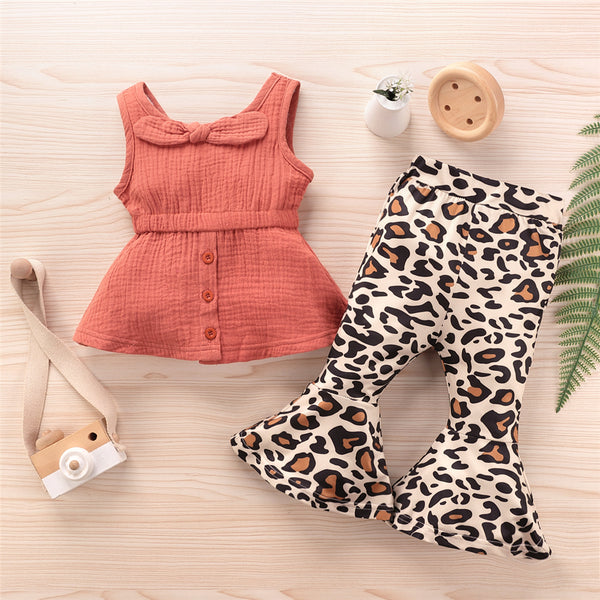 Toddler Girls Sleeveless Solid Top & Leopard Flare Pants Wholesale Girls Clothes