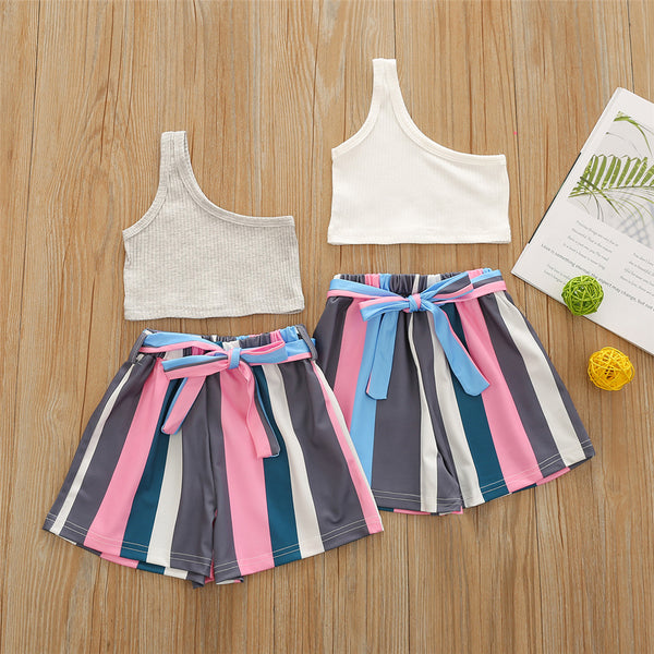 Girls Sleeveless Solid Top & Striped Shorts kids clothing wholesale