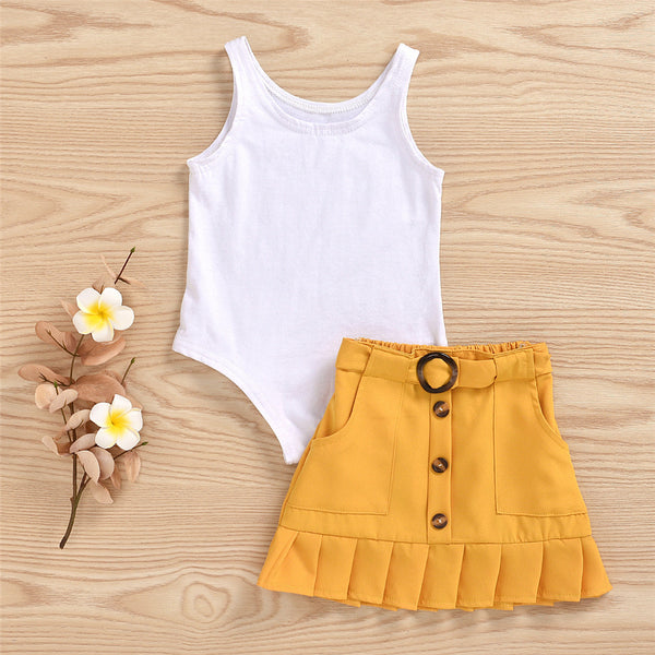 Girls Sleeveless Solid Vest & Button Skirt Girls Clothing Wholesalers