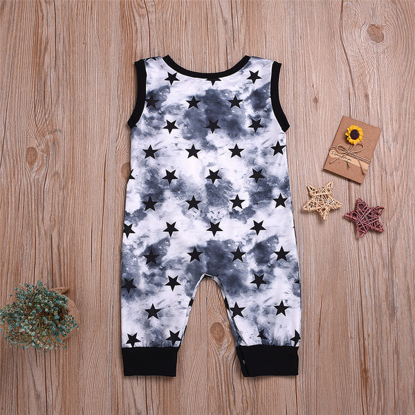 Baby Boys Sleeveless Star Printed Tie Dye Romper baby clothes wholesale