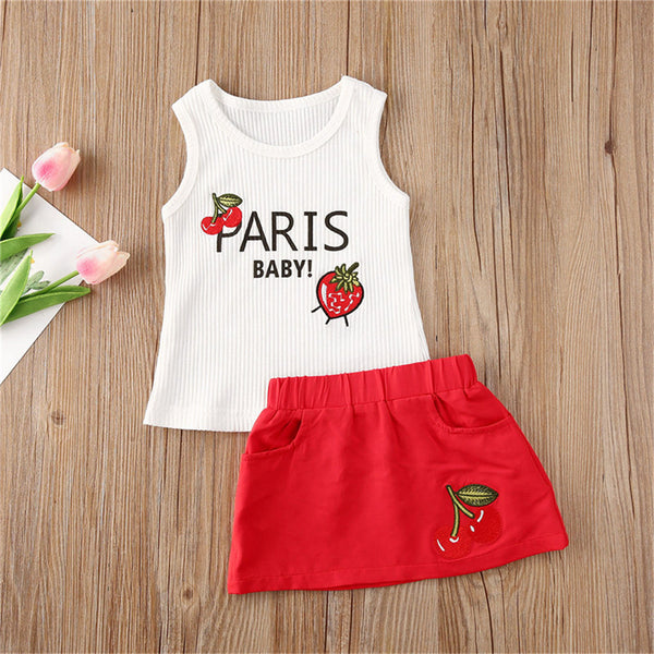 Girls Sleeveless Strawberry Paris Baby Printed Top & Skirt Girl Boutique Clothing Wholesale