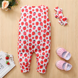 Baby Girls Sleeveless Strawberry Printed Romper & Headband Wholesale Designer Baby Clothes
