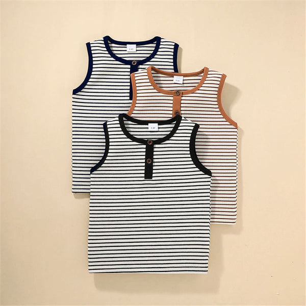 Boys Sleeveless Striped Casual T-shirt boy boutique clothing wholesale