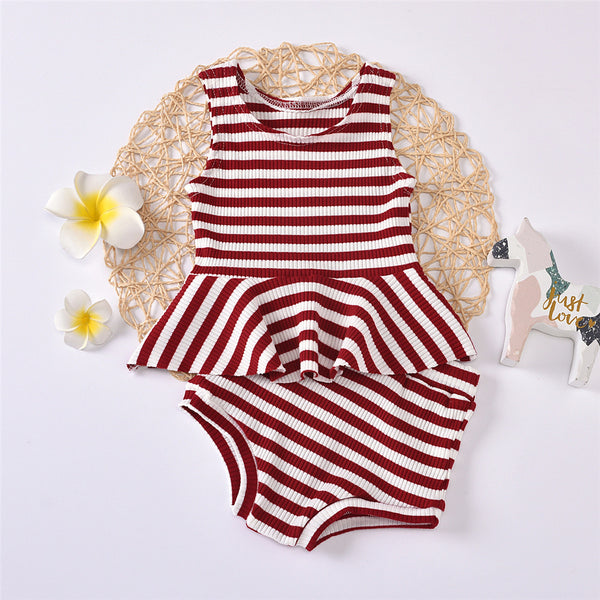 Baby Girls Sleeveless Striped Crew Neck Top & Shorts baby clothes wholesale usa