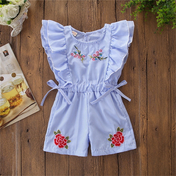 Girls Sleeveless Striped Embroidered Bow Decor Jumpsuit Wholesale Girl Clothing