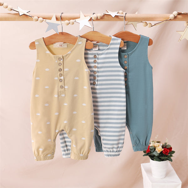 Baby Unisex Sleeveless Striped Printed Romper Baby Boutique Clothing Wholesale