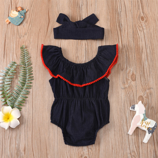 Girls Sleeveless Summer Denim Romper & Headband Baby Romper Wholesale