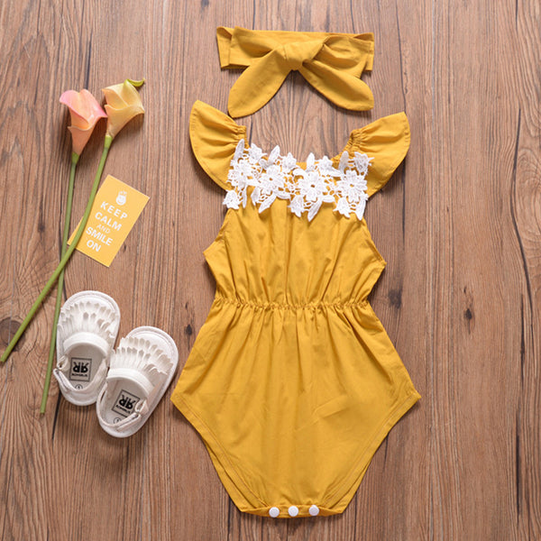 Baby Girls Sleeveless Summer Romper & Headband baby clothes wholesale usa