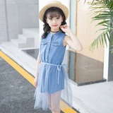 Girls Sleeveless Summer Solid Color Button Top & Mesh Skirt Childrens Wholesale Suppliers
