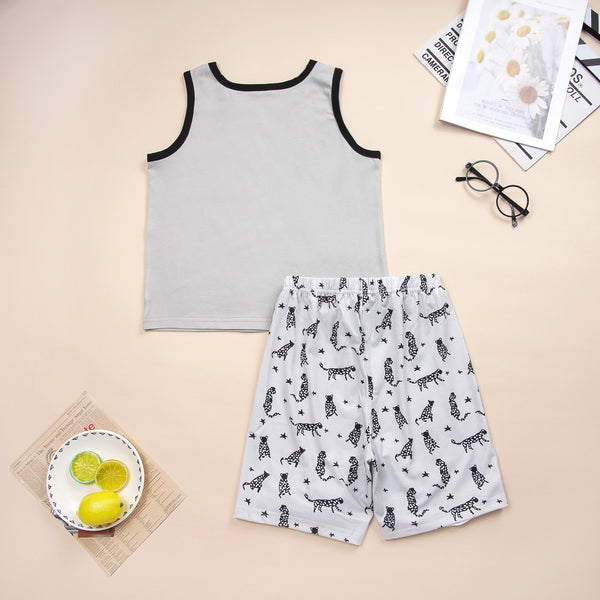 Boys Sleeveless Summer Top & Animal Printed Shorts Wholesale Boys Suits