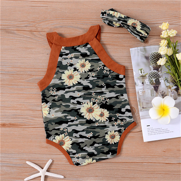 Baby Girls Sleeveless Sunflower Camo Printed Romper & Headband baby clothes vendors