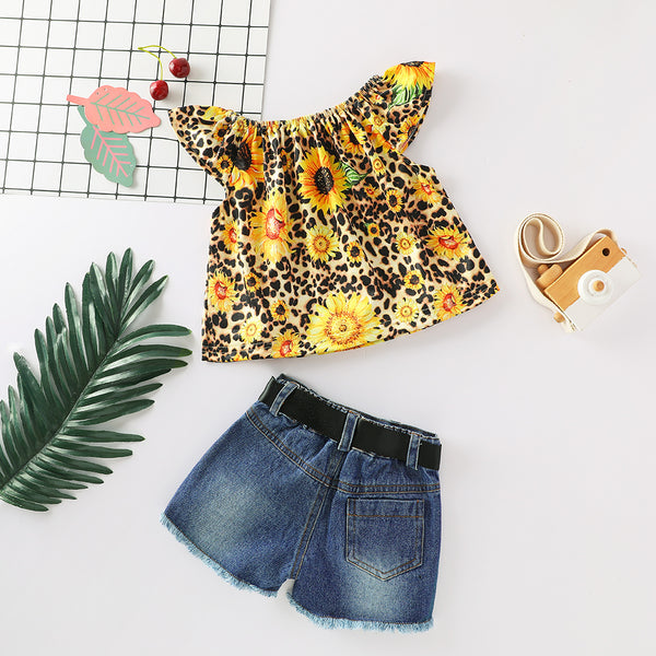 Girls Sleeveless Sunflower Leopard Printed Top & Denim Shorts baby clothes wholesale usa