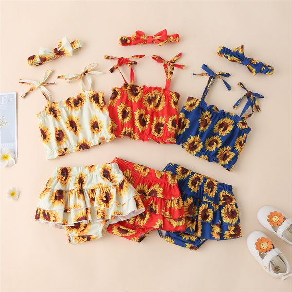 Baby Girls Sleeveless Sunflower Printed Sling Top & Shorts & Headband baby clothes wholesale usa