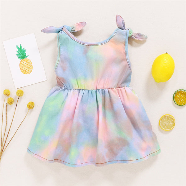 Baby Girls Sleeveless Tie-dye Bow Decor Dress Baby Wholesale Suppliers