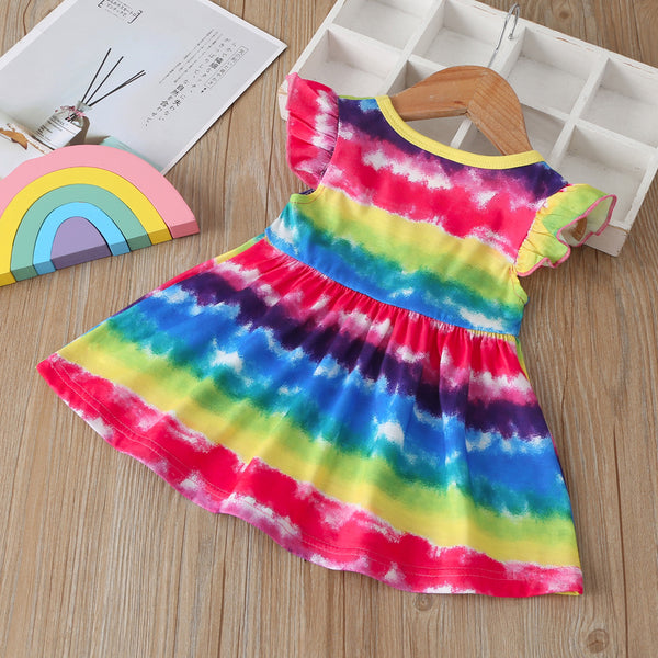 Girls Sleeveless Tie Dye Dress Wholesale Kids Clothing Distributors