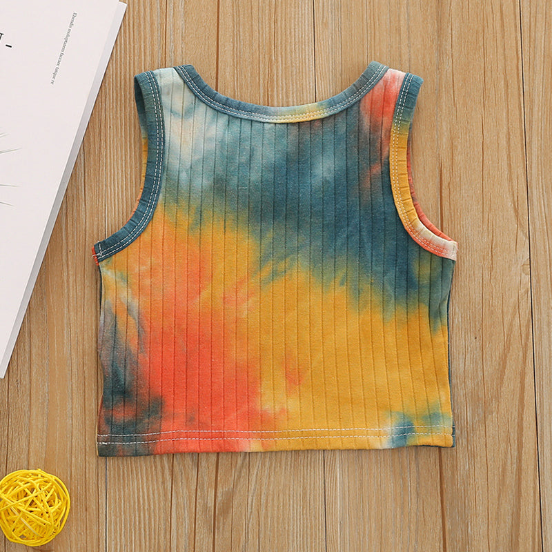 Girls Sleeveless Tie Dye Fashion Top wholesale kids boutique clothing