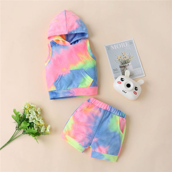 Unisex Sleeveless Tie Dye Hooded Top & Shorts Toddler Clothes Wholesale
