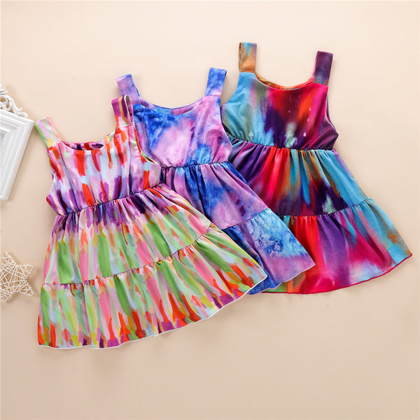 Girls Sleeveless Tie Dye Pleated Dress wholesale girls clothes
