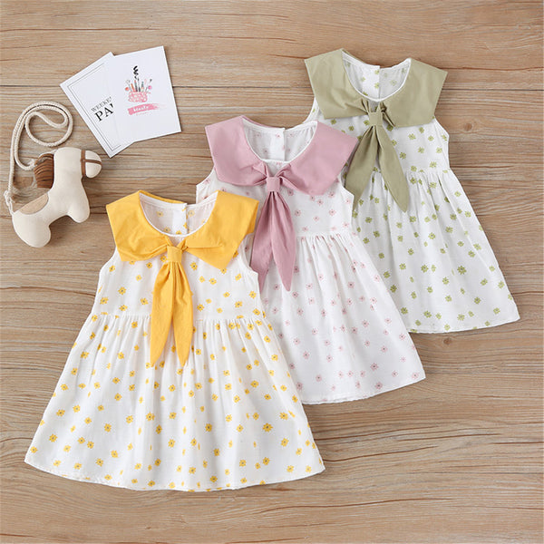 Girls Sleeveless Tie Floral Printed Dress Trendy Kids Wholesale Clothing